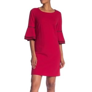 Sharagano Red Bell Sleeve Shift Dress (M55C)